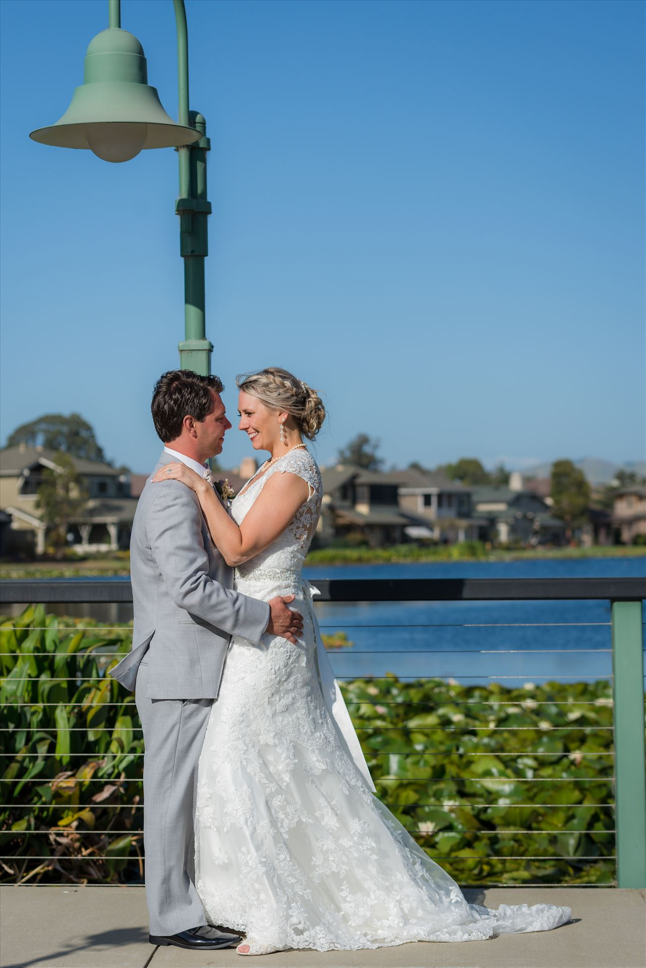 SP Gallery-9105.JPG - Cypress Ridge Pavilion Wedding Photography by Mirror's Edge Photography in Arroyo Grande California.  Bride and room by the lake and lamp post by Sarah Williams