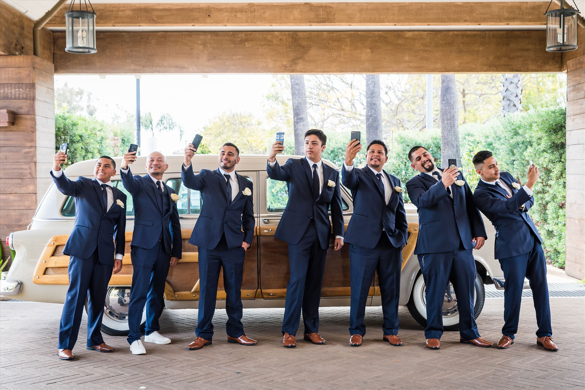 Ana and Juan 17 - Wedding photography at the Kimpton Goodland Hotel in Santa Barbara California by Mirror's Edge Photography.  Groom and Groomsmen by Sarah Williams