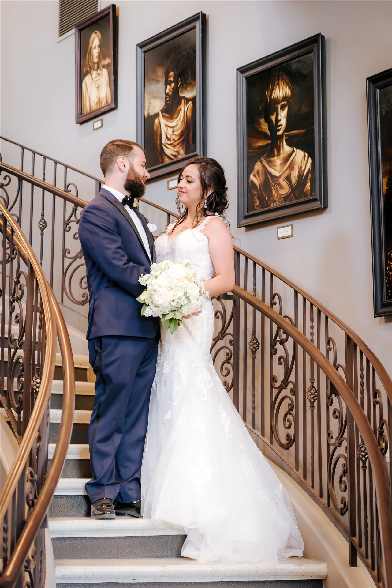 FW-1534.JPGTooth and Nail Winery elegant and formal wedding in Paso Robles California wine country by Mirror's Edge Photography, San Luis Obispo County Wedding Photographer.  Bride and Groom on Tooth and Nail Staircase.