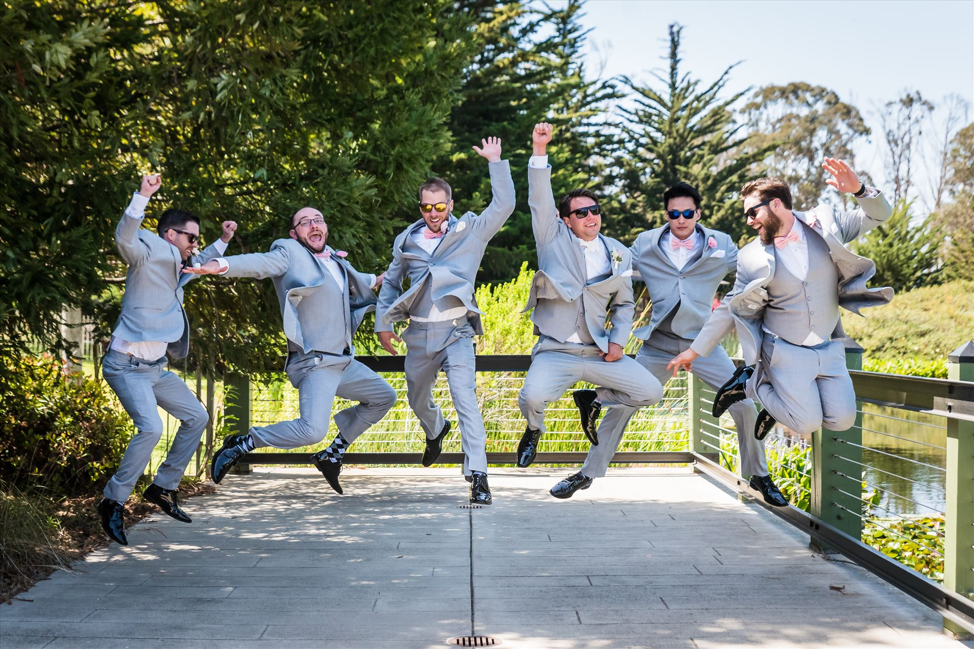 SP Gallery-0181.JPG - Cypress Ridge Pavilion Wedding Photography by Mirror's Edge Photography in Arroyo Grande California.  Groomsmen jumping by Sarah Williams