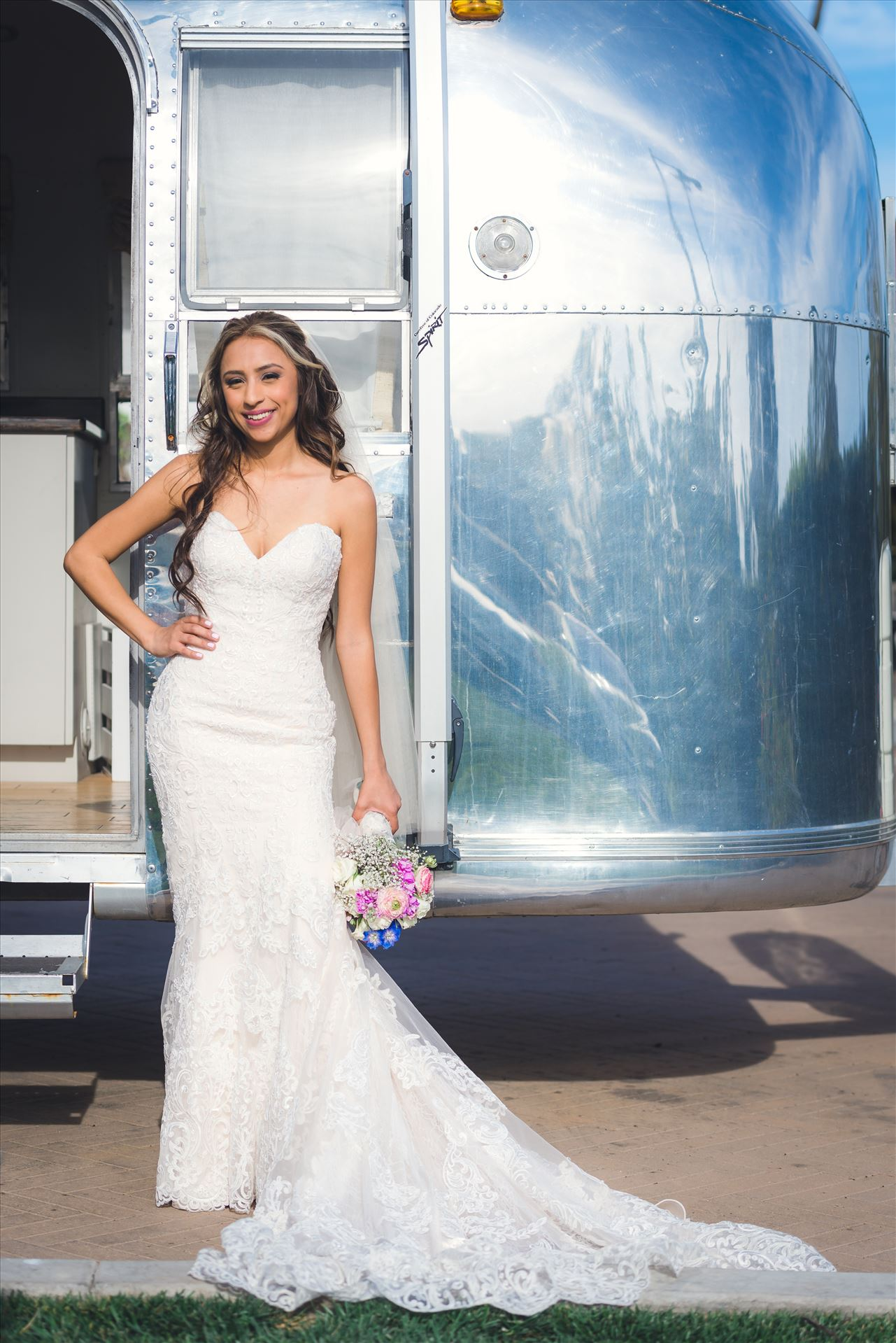 Ana and Juan 48 - Wedding photography at the Kimpton Goodland Hotel in Santa Barbara California by Mirror's Edge Photography.  Retro Chic Bride by Airstream by Sarah Williams