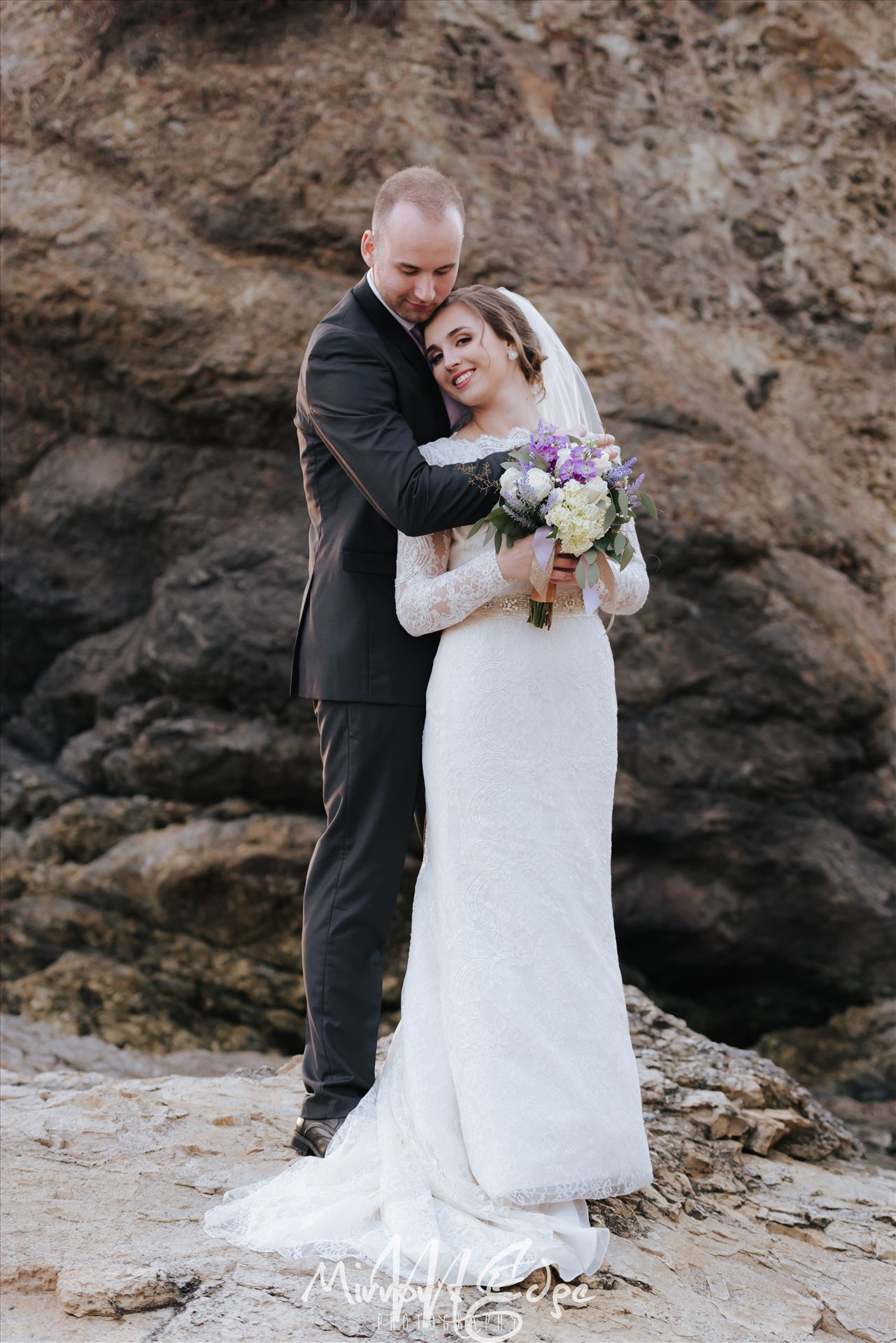 Shell Beach Wedding Bride and Groom - Intimate Wedding Ceremony at Dinosaur Caves Park in Shell Beach, Pismo Beach, California overlooking Pismo Beach.  San Luis Obispo Wedding Photography. by Sarah Williams