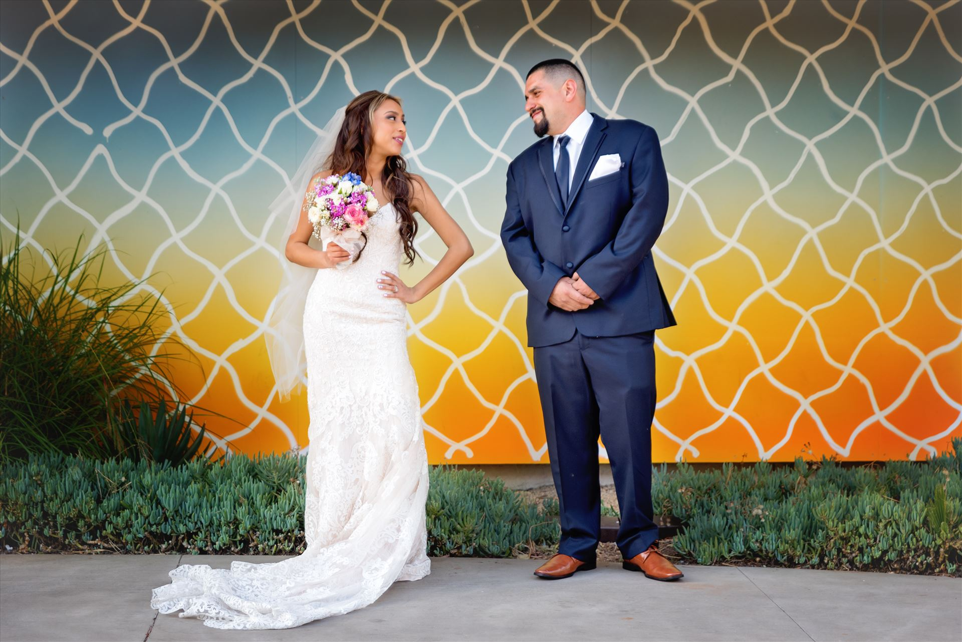 Kimpton Goodland Hotel Santa Barbara Goleta California Bride and Groom at Art Wall -  by Sarah Williams