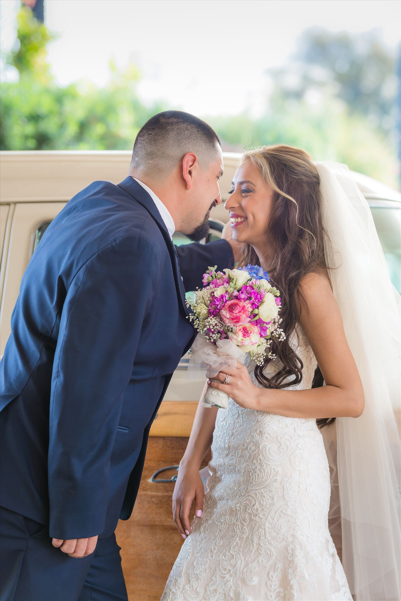 Kimpton Goodland Hotel Santa Barbara Goleta California Bride and Groom by Car -  by Sarah Williams