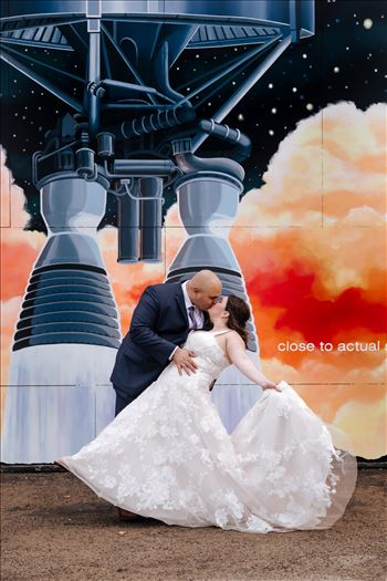 Sarah Williams of Mirror's Edge Photography and San Luis Obispo and Santa Barbara Wedding Photographer captures the Ochoa Wedding. Bride and Groom at Rocket Mural
