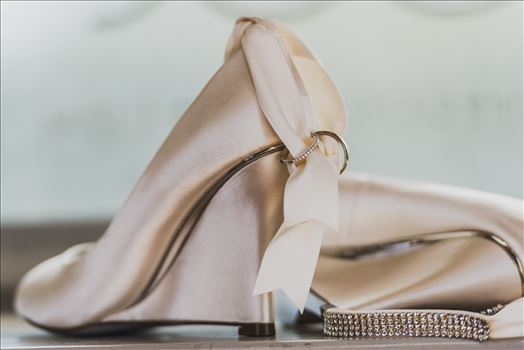 Wedding photography at the Kimpton Goodland Hotel in Santa Barbara California by Mirror's Edge Photography.  Bridal Shoes and Wedding Rings