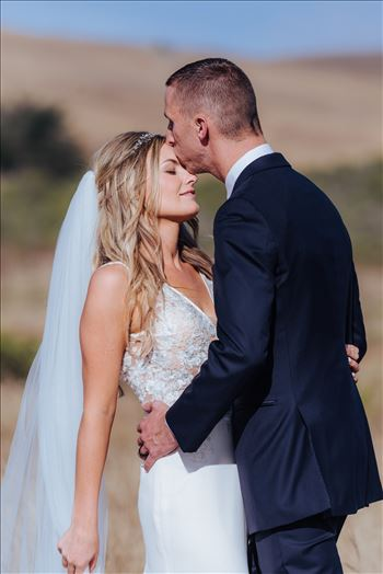 Cayucos California Beach and Bluffs Wedding near Morro Bay and Cambria with romantic chic flair by Mirror's Edge Photography, San Luis Obispo County Wedding Photographer.  Romantic Bride and Groom in the country by the ocean