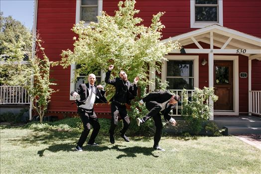 Emily House Bed and Breakfast Paso Robles California Wedding Photography by Mirrors Edge Photography.  Groomsmen jump