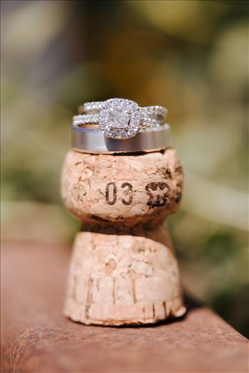 Tooth and Nail Winery elegant and formal wedding in Paso Robles California wine country by Mirror's Edge Photography, San Luis Obispo County Wedding Photographer. Wedding rings on wine cork