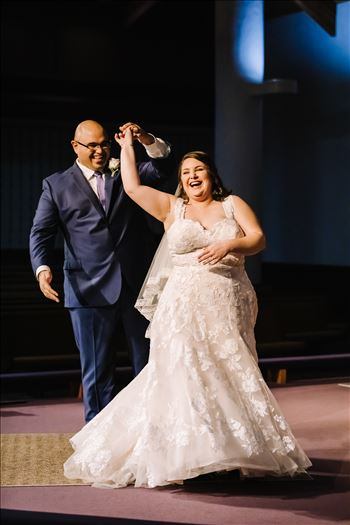 Sarah Williams of Mirror's Edge Photography and San Luis Obispo and Santa Barbara Wedding Photographer captures the Ochoa Wedding. Bride and Groom dance at Trinity Church.