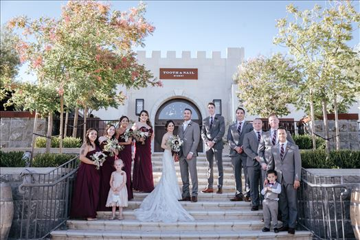 Mirror's Edge Photography captures Edith and Kyle's wedding at the Tooth and Nail Winery in Paso Robles California. Bride, Groom and Bridal Party
