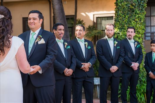 Wedding photography at the Historic Santa Maria Inn in Santa Maria, California by Mirror's Edge Photography. Groom and groomsmen