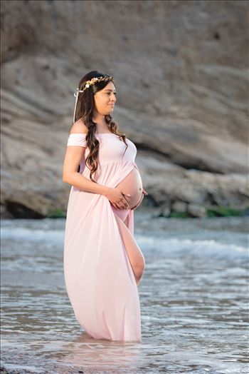 Maternity Photography session at Spooner's Cove at Montana de Oro in Los Osos California.  Beach Maternity Session.  New Mother in the Water
