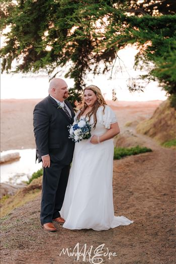 Beach Wedding in San Simeon California at the Cavalier Oceanfront Resort overlooking Cambria and San Simeon Beach and Hearst Castle.  San Luis Obispo County Wedding Photography.