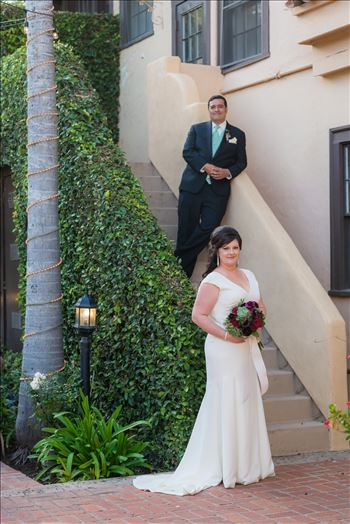 Wedding photography at the Historic Santa Maria Inn in Santa Maria, California by Mirror's Edge Photography. Bride and Groom on the Ivy Staircase.