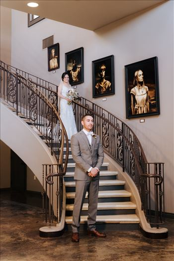 Mirror's Edge Photography captures Edith and Kyle's wedding at the Tooth and Nail Winery in Paso Robles California. First Look on the staircase in tasting room