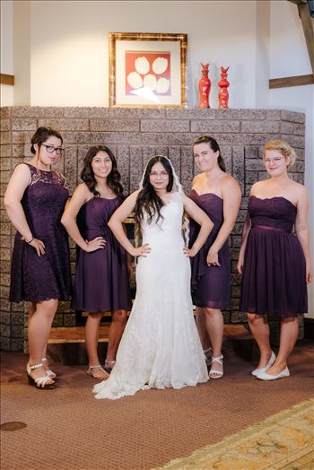 Mirror's Edge Photography captures a high tea wedding at the Cypress Ridge Golf Club and Pavilion in Arroyo Grande, California.  The Bride and her Bridesmaids.