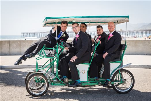 Sea Venture Resort and Spa Wedding Photography by Mirror's Edge Photography in Pismo Beach, California. Groom and Groomsmen in cart