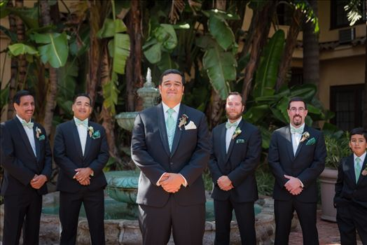 Wedding photography at the Historic Santa Maria Inn in Santa Maria, California by Mirror's Edge Photography. Groom and his groomsmen.