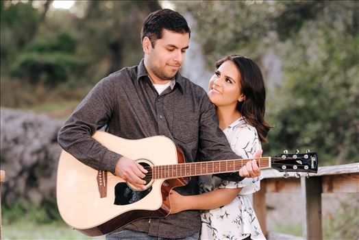 Mirror's Edge Photography captures CiCi and Rocky's Sunrise Engagement in Los Osos California at Los Osos Oaks Reserve. Guitarist engagement photography