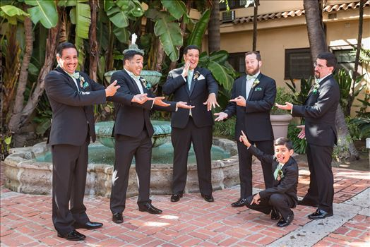Wedding photography at the Historic Santa Maria Inn in Santa Maria, California by Mirror's Edge Photography. Cute Groom and Groomsmen having fun.