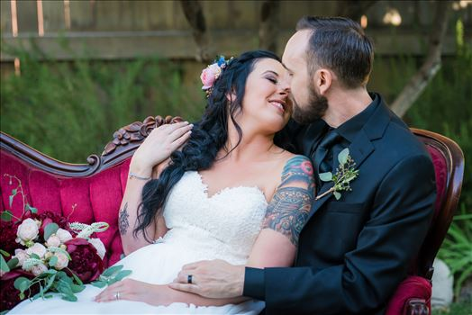 Emily House Bed and Breakfast Paso Robles California Wedding Photography by Mirrors Edge Photography. Bride and groom on vintage couch