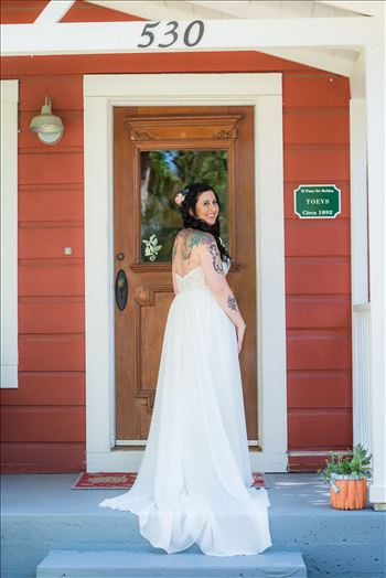 Emily House Bed and Breakfast Paso Robles California Wedding Photography by Mirrors Edge Photography. Bride on the porch
