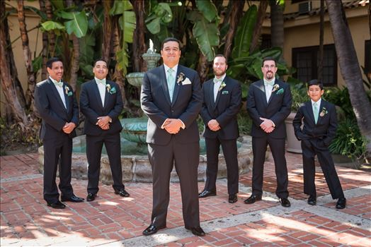 Wedding photography at the Historic Santa Maria Inn in Santa Maria, California by Mirror's Edge Photography. Groom and his groomsmen by the fountain