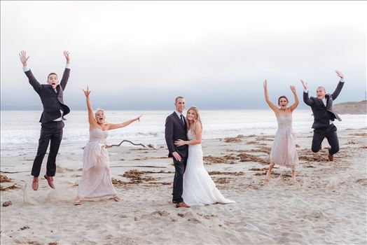 Mirror's Edge Photography, San Luis Obispo Wedding Photographer captures Cayucos Wedding on the beach and bluffs in Cayucos Central California Coast. Wedding Party Bridal Party fun at the Beach