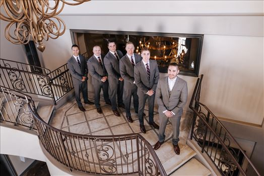 Mirror's Edge Photography captures Edith and Kyle's wedding at the Tooth and Nail Winery in Paso Robles California. Groom and groomsmen on the staircase